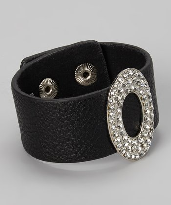 Black Leather & Rhinestone Oval Snap Bracelet