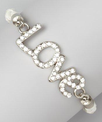 White Leather & Rhinestone Braided 'Love' Bracelet
