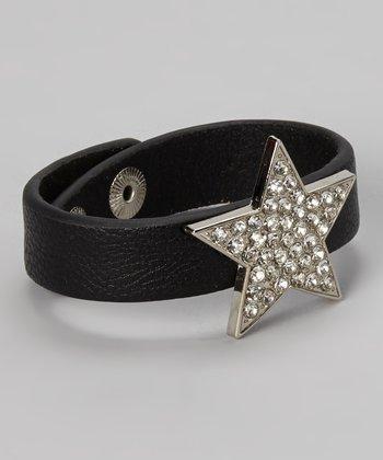 Black Leather & Rhinestone Star Snap Bracelet