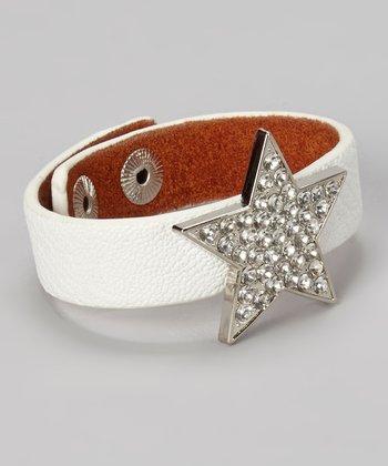 White Leather & Rhinestone Star Snap Bracelet