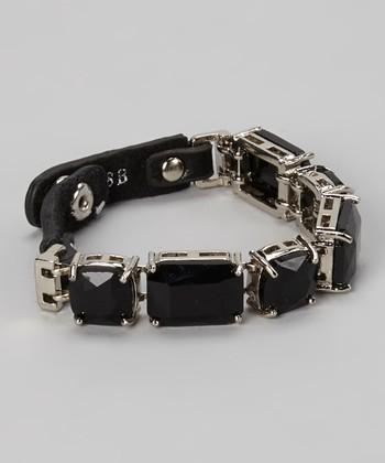 Black Leather & Stone Snap Bracelet