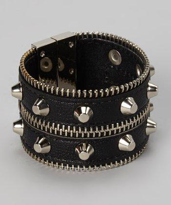 Silver & Black Leather Zipper Magnetic Bracelet