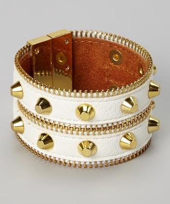 Gold & White Leather Zipper Magnetic Bracelet