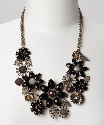 Silver & Black Floral Bib Necklace