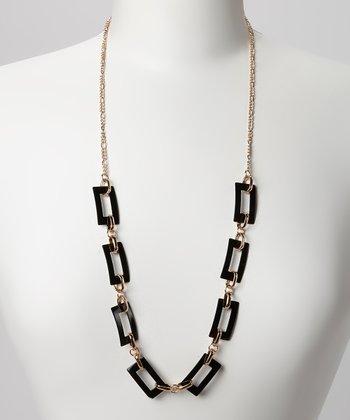 Gold & Black Rectangle Link Necklace