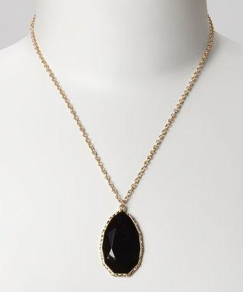 Gold & Black Faceted Pendant Necklace