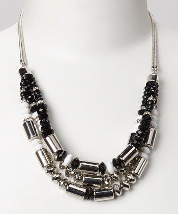 Silver & Black Bead Bib Necklace