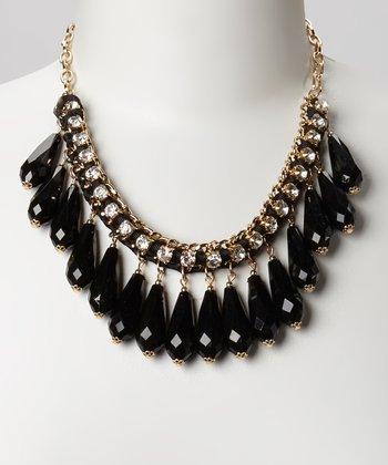 Gold & Black Sparkle Drop Bib Necklace