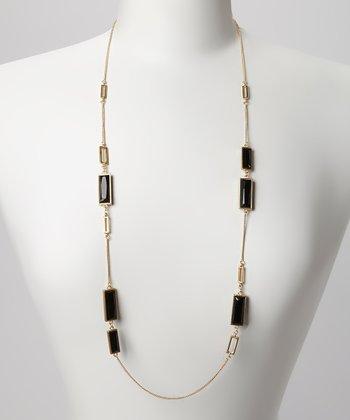 Gold & Black Rectangle Station Necklace