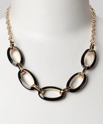 Gold & Black Oval Link Necklace