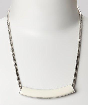 Silver & White Bar Necklace