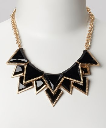 Gold & Black Triangle Bib Necklace