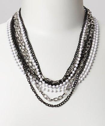 Silver & Black Bead Multi-Strand Necklace