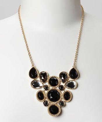 Gold & Black Faceted Bib Necklace