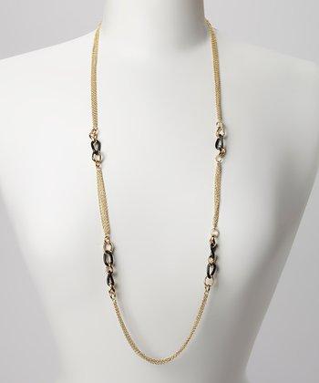 Gold & Black Link Station Necklace