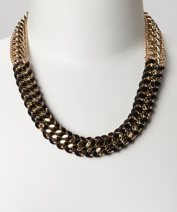Gold & Black Braided Necklace