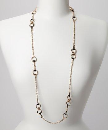 Gold & Black Round Link Station Necklace