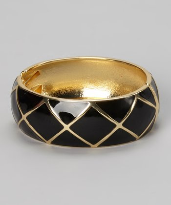 Gold & Black Geometric Bangle