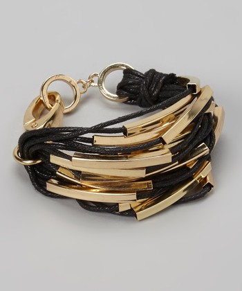 Gold & Black Bar Cord Bracelet