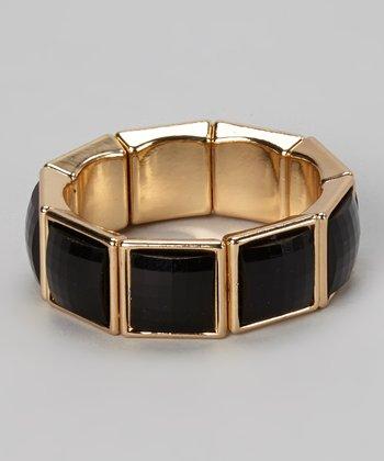 Gold & Black Square Stretch Bracelet