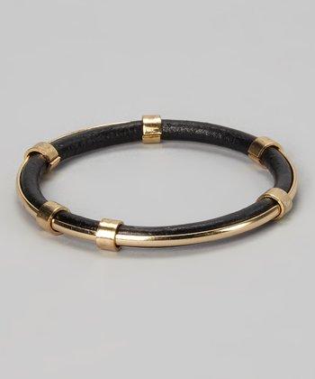 Gold & Black Leather Bangle