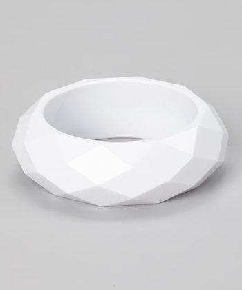 White Faceted Bangle
