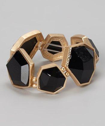 Gold & Black Faceted Stretch Bracelet
