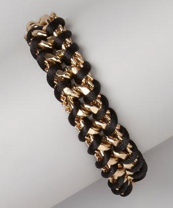 Gold & Black Woven Chain Bracelet
