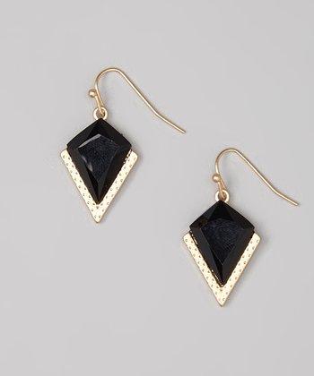 Gold & Black Geometric Drop Earrings