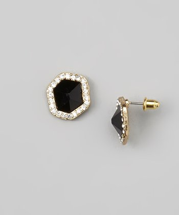 Black Sparkle Faceted Stud Earrings