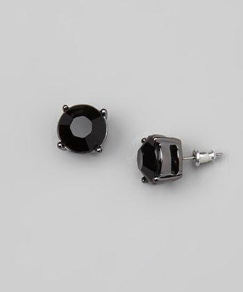 Silver & Black Stud Earrings