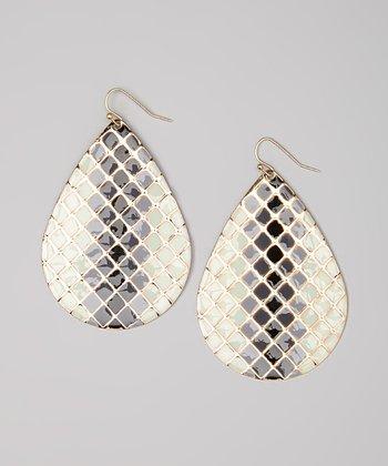 White & Gray Lattice Teardrop Earrings