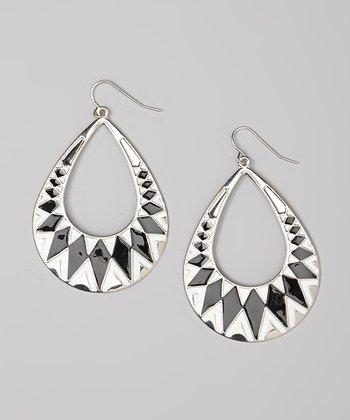 Black & White Geometric Cutout Teardrop Earrings
