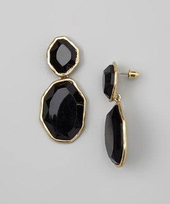 Gold & Black Faceted Drop Earrings