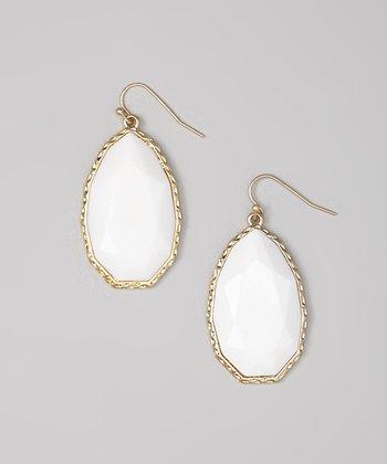 Gold & White Faceted Teardrop Earrings