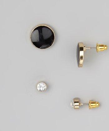 Black Button & Sparkle Solitaire Stud Earring Set