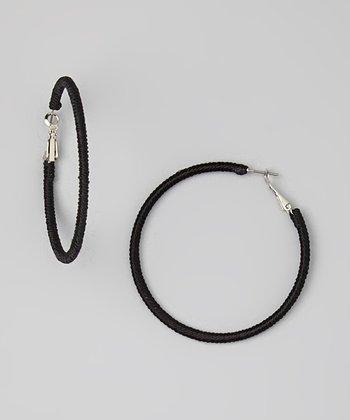 Black Wrapped Hoop Earrings