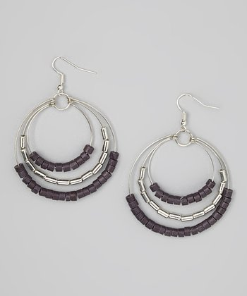 Silver & Black Bead Circle Drop Earrings