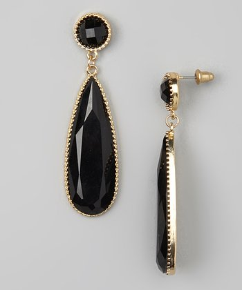 Gold & Black Pear Drop Earrings