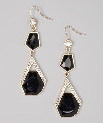 Gold & Black Sparkle Faceted Drop Earrings