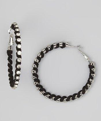 Black Sparkle Wrapped Hoop Earrings