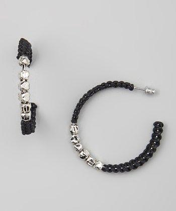Silver & Black Bead Wrapped Hoop Earrings