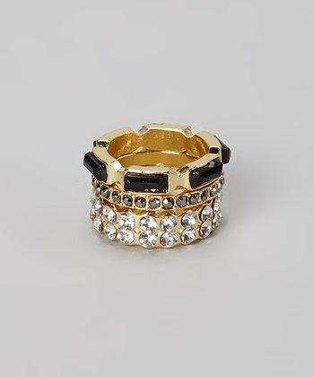 Gold & Black Sparkle Stackable Ring Set