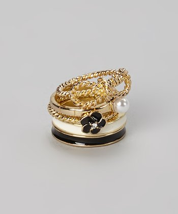 Gold & Pearl Stackable Ring Set