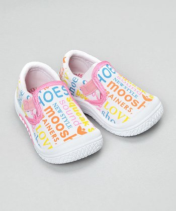 Mooshu Trainers - White Graffiti Squeaker Shoe