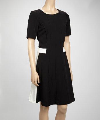 Shelby & Palmer Black & Ivory Color Block Short-Sleeve Dress