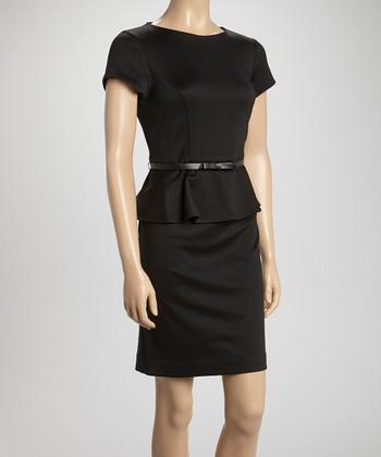 Shelby & Palmer Black Ponte Belted Peplum Dress