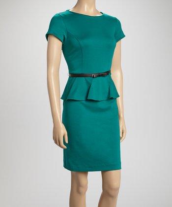 Shelby & Palmer Green Ponte Belted Peplum Dress