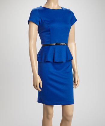 Shelby & Palmer Royal Blue Ponte Belted Peplum Dress