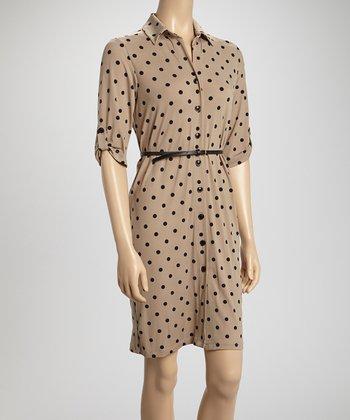 Shelby & Palmer Mocha & Black Polka Dot Belted Shirt Dress